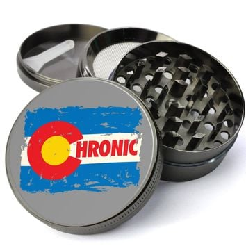 Chronic Colorado #Extra Large 5 Piece Spice Tobacco Herb Grinder with Pollen/Keef Catcher - Custom Marijuana Grinders with Pollen Screen