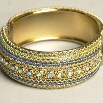 Ethnic Hinged Cuff Bracelet Golden Blue Green Sparkling Beaded Jewelry