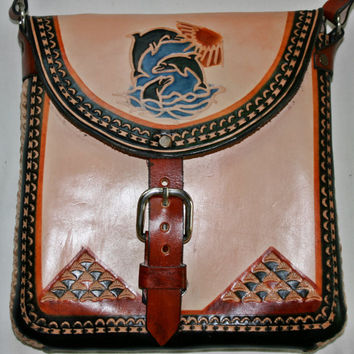Handcrafted Leather Purse Crossbody Purse Engraved Leather Bag Dolphins Aztec Calendar Rustic Leather Bag Hippie Purse Boho Purse Size S/M