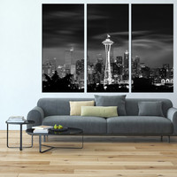 large canvas Seattle skyline art Print wall art, extra large wall art, canvas art for large wall, Seattle art print wall decor t121