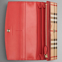 Leather and Haymarket Check Continental Wallet