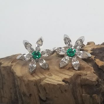 Eisenberg signed 1940's vintage clear and green rhinestone flower screw back earrings