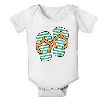 Striped Flip Flops - Teal and Orange Baby Romper Bodysuit