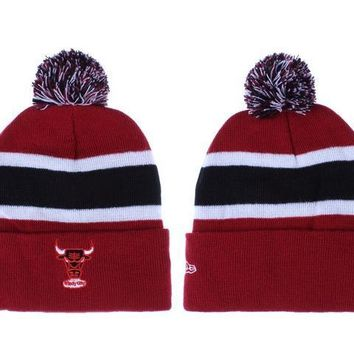 PEAPON Chicago Bulls Beanies New Era NBA Hat Red