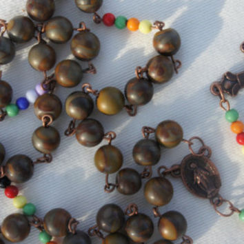 World Rosary Jasper Earth Tones Vintage style