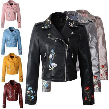 Women faux leather jacket embroidery Biker Jackets Aviator coat new Short motorcycle Coats with Belt Female S-XL Jaqueta couro