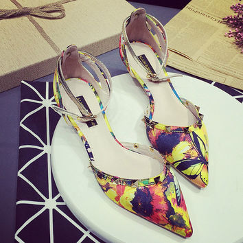 Womens Floral Studded Close Toe Low Heels