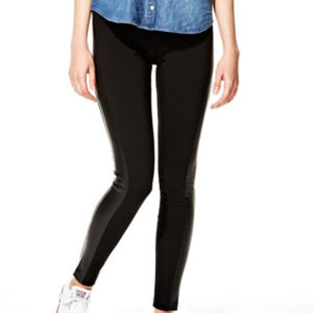 Sienna Stretch Skinnies with Vegan Leather Insets - Black