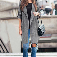 Grey Plus Size Duster Coat with Adjustable Sleeves