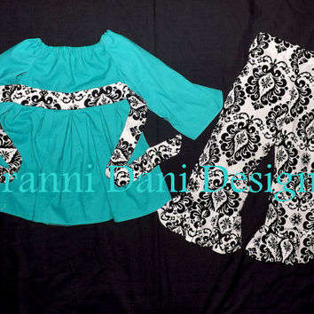 Damask and teal twirl peasant top with ruffle pants baby toddler girl  12 18 24 months 2t 3t 4t 5t christmas holiday