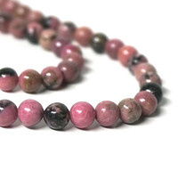 Gemstone beads, Rhodonite with matrix, 6mm round, natural pink, HALF strand (1120S)