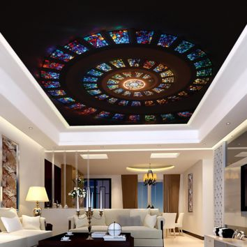 Stain Glass Ceiling Mural Peel and Stick