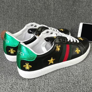 Trendsetter GUCCI Woman Men Fashion Embroidery Flats Shoes Sneakers Sport Shoes