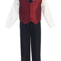 Burgundy Poly Silk Vest & Black Pants 4 Pc Outfit (Baby 6 months - Little Boys Sz 7)