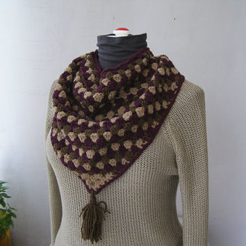 Crochet Triangle Bib Scarf, Handknit Granny Scarf Knit, Outlander Tassel Shawl , Brown Purple Retro Neckwarmer, Winter Woman Knitted Capelet