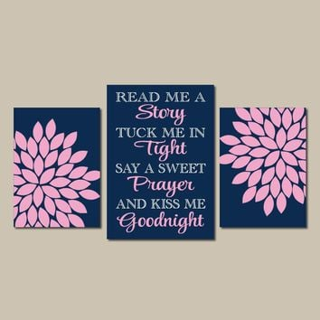 Navy Pink Nursery Wall Art, Read Me a Story Baby Girl Nursery Decor, Girl  Girl Nursery Decor  Set of 3 Canvas or Prints, Gift for Girl