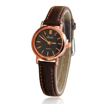 Simple Ladies Elegant Watch Women Roman Numerals Small Dial Watches Business Style Womens Casual Leather Quartz Wrist Watch #LH