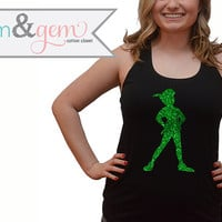 Disney's Peter Pan Silhouette Glitter Shirt // Peter Pan and Tinkerbell Shirt // Peter Pan Shirt // Disney Clothing // Adult Disney Shirt