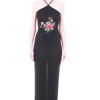 90s Vintage Black Bodycon Maxi Dress Asian Goth Club Kid Embroidered Flower Cage Halter Clothing Womens Size XS Small