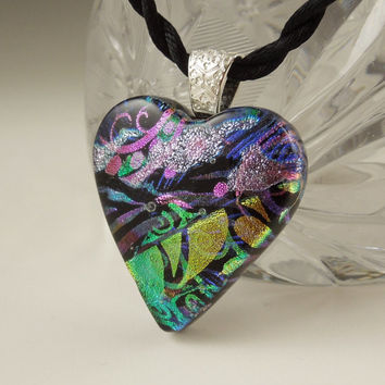 Heart Pendant - Dichroic Glass - Mothers Day Gift - Dichroic Fused Glass Pendant - Fused Glass - Mosaic - Heart Necklace X8945