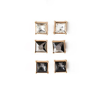 Faceted Faux Gem Stud Set
