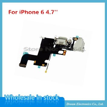 "20pcs/lot  Charging Charger Port USB Dock Connector Flex Cable For iPhone 6 4.7"" 6G with Headphone Jack Mic Flex Cable Ribbon"