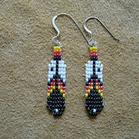 Small Native American style loom beaded Feather earrings