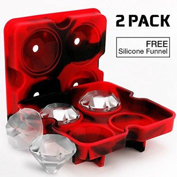 2 Pack Diamond-Shaped Silicone Ice Cube Trays with Lids, BPA-Free Stackable Easy Release Ice Molds Multifunctional Storage Containers for Ice, Whiskey, Candy and Chocolate (Red&Black-2Pack)
