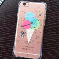 Planet Ice Cream Fun Protective Bumper Case for iPhone 5 5s SE, 6 6s, 6Plus