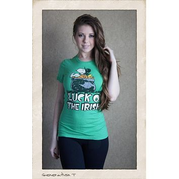 Vintage Inspired Womens Snoopy Luck O' The Irish Tee Shirt