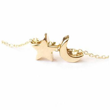 Moon & Star Necklace - solid gold