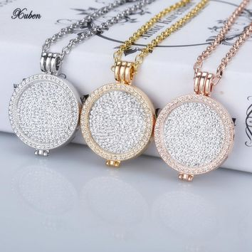 New 35mm coin holder necklace pendant fit my 33mm coins white crystal Christmas woman gift  fashion jewelry 2017 long chain