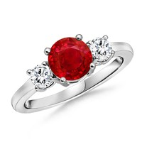 Classic Ruby and Diamond Three Stone Ring