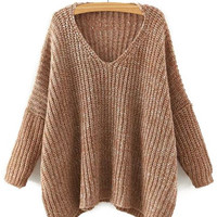 V Neck Long Sleeve Solid Color Loose-Fitting Sweater