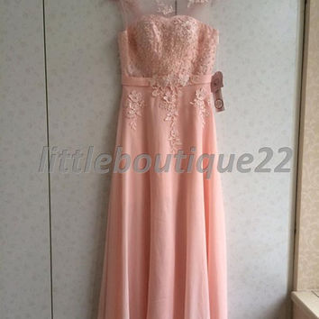 Strapless sheer mesh lace applique gown chiffon floor length evening dress sweetheart bodice prom dress (62)