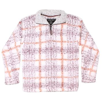 Frosty Tipped Taos Pile 1/4 Zip Pullover in Red by True Grit - FINAL SALE