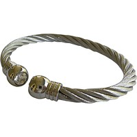 Stainless Steel Twisted Cable Cuff Bracelet Clear Stone Silver Tips
