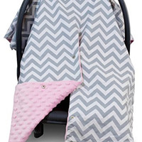 Premium Carseat Canopy Cover with Peekaboo Opening- Large Chevron Print with Soft Pink Minky | Best for Infant Car Seat, Boy or Girl | All Weather | Universal Fit | Baby Shower Gift | Newborn Decor