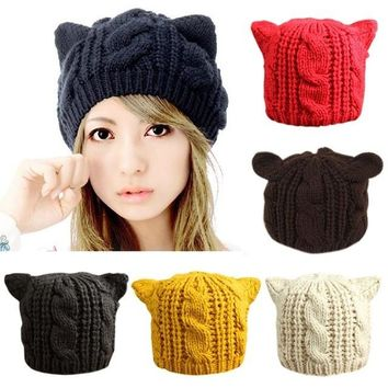 Cat Ears Hat Ladies Beanie Crochet Knit Cap