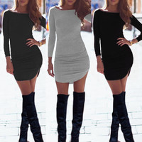 2016 New Spring Winter Sexy Women Ladies Long Sleeve Bodycon Bandage Club Party Dress robe femme Casual Office T Shirt Dress Z1