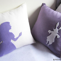 Alice And Rabbit In Wonderland. White and Purple Pillow Covers Set. Set Of Two. Christmas Gift