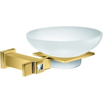 Moonlight Wall Frozen Glass Soap Dish Holder W/ Swarovski - Gold
