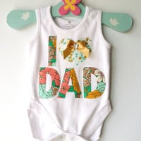Fathers Day New Dad Baby Onesuit I 'heart' Dad Baby New Dad Metallic Green Floral