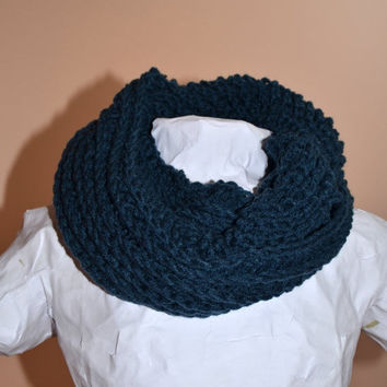 SALE Windsor Blue Ribbed Crochet Infinity Circle Scarf
