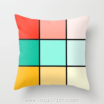 Geometric Modern Throw Pillow 16x16 Decorative Cover Bright Cube Square Black Coral Pink Mint Mustard Yellow Teal Ochre Turquoise Red Mod