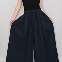 Linen pants Navy blue pants Wide leg pant skirt
