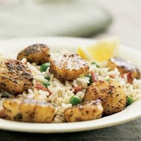 Spicy Scallops with Vegetable-Rice Pilaf | Williams-Sonoma