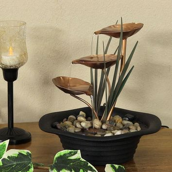 Three Leaf Cascading Tabletop Fountain with LED Lights