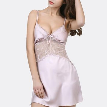 Spring Summer Sexy Lace Spaghetti Strap Nightgown Women Elegant Lace Sleep Dress Female Silk Sleepwear Pijamas Sexy Lingerie
