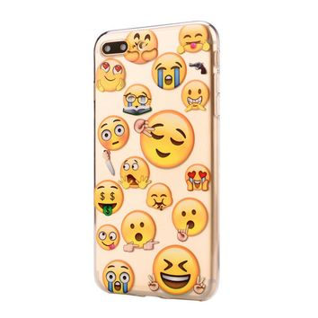 New Funny Emoji Face Design Soft Silicone Case Cover for IPhone 8 Plus